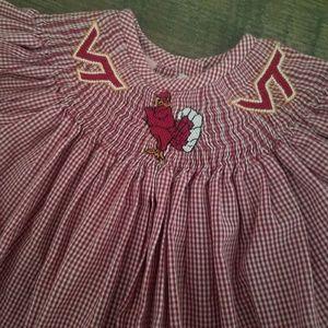 NWOT Virginia Tech Hokies gingham smocked dress